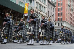 Members from the U.S. Military Academy Pipes and Drums at West Point, New York, march during the Veterans Day parade on Fifth Avenue in New York on Nov. 11, 2014. (Gordon Donovan)