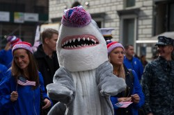 A land shark marches during the Veterans Day parade on Fifth Avenue in New York on Nov. 11, 2014. (Gordon Donovan)