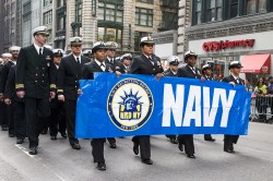 The U.S. Navy marches up Fifth Ave. at the start of the Veterans Day parade in New York on Nov. 11, 2014. (Gordon Donovan)