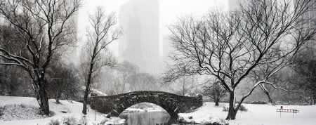 Snow covers landscape and the Gapstow Bridge in New York City's Central Park, Friday Jan. 9, 2015. (Gordon Donovan/Yahoo News)