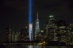 The Tribute in Light is seen from the Staten Island Ferry on Sept. 9, 2015. (Gordon Donovan/Yahoo News)