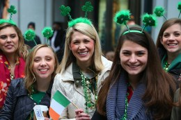 People show their green during the St. Patrick's Day Parade, March 17, 2015, in New York. (Gordon Donovan)