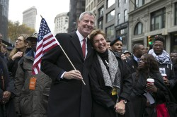 New York City Mayor Bill de Blasio joins the procession to march in the Veterans Day parade in New York City. (Gordon Donovan)