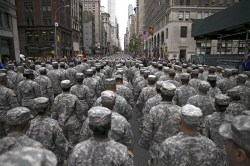 Members of the United States Army march up Fifth Avenue during the Veterans Day parade on Fifth Avenue in New York on Nov. 11, 2015. (Gordon Donovan)
