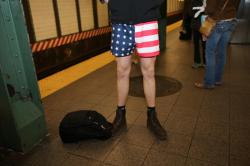 What No Pants Subway Ride is not complete without the stars and stripes in New York City, Sunday, Jan. 10, 2016. (Gordon Donovan/Yahoo News)
