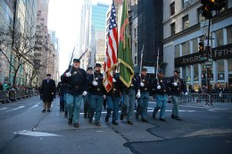 Members of 69th Infantry Regiment march during the St. Patrick's Day Parade on March 17, 2016, in New York. (Gordon Donovan/Yahoo News)