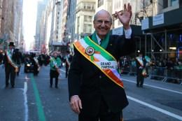 Grand Marshal of the 2016 NYC St. Patrick's Day Parade, Senator George J. Mitchell waves to the crowds at the St. Patrick's Day Parade, March 17, 2016, in New York. (Gordon Donovan/Yahoo News)