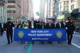 New York City Mayor Bill de Blasio marches with NYPD at the St. Patrick's Day Parade, March 17, 2016, in New York. (Gordon Donovan/Yahoo News)