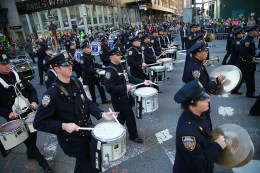 Members of the NYPD Band their way up Fifth Avenue during the St. Patrick's Day Parade on March 17, 2016, in New York. (Gordon Donovan/Yahoo News)