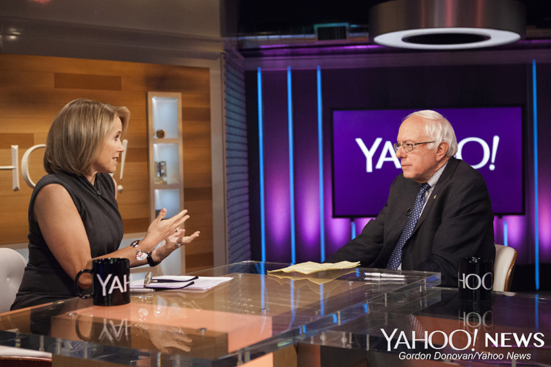 Democratic presidential candidate Sen. Bernie Sanders is interviewed by Yahoo Global News Anchor Katie Couric at the Yahoo Studios in New York City on Monday June 1, 2015. (Gordon Donovan/Yahoo News)