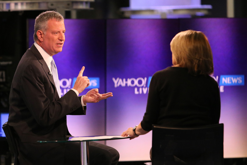 Yahoo Global News Anchor Katie Couric interviews New York City Mayor Bill de Blasio
