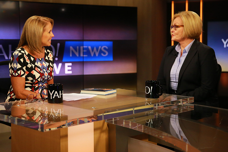 Yahoo Global News Anchor Katie Couric interviews Senator Claire McCaskill, D-Mo. at the Yahoo Studios in New York City on Tuesday, August 11, 2015. (Gordon Donovan/Yahoo News)