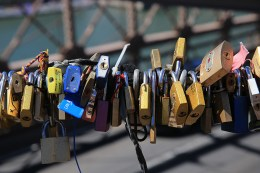 In 2015, more than 45 tons of padlocks, like the ones seen here on the Brooklyn Bridge, were removed from several bridges in Paris. (Gordon Donovan/Yahoo News)