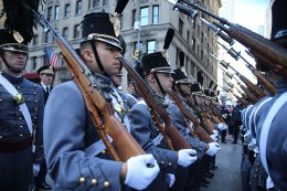 A cadet from the U.S. Military Academy at West Point marches during the Veterans Day parade. (Gordon Donovan/Yahoo News)