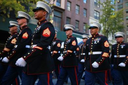 Members of the Marine Corps take part in the Veterans Day parade in New York on Nov. 11, 2016. (Gordon Donovan/Yahoo News)