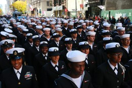 Members of the Navy march up Fifth Avenue during the Veterans Day parade on Fifth Avenue in New York on Nov. 11, 2016. (Gordon Donovan/Yahoo News)
