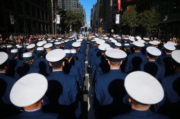 Members of the U.S. Coast Guard march in the Veterans Day parade in New York City on Nov. 11, 2016. (Gordon Donovan/Yahoo News)