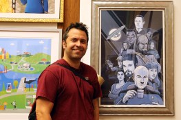 "PJ McQuade stands next to his work ""Boldly Going"" at the ""Star Trek: 50 Artists. 50 Years."" exhibit at the Paley Center, on display Sept. 16-25, 2016. McQuade's work has appeared in the Hollywood Reporter, CBS, Variety, AMC, MTV, Toronto Life and ESPN. (Photo: Gordon Donovan/Yahoo News)"