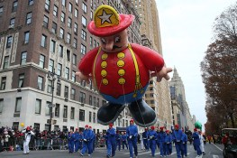 The Harold the Fireman balloon floats in the 90th Macy's Thanksgiving Day Parade in New York, Thursday, Nov. 24, 2016. (Gordon Donovan/Yahoo News)