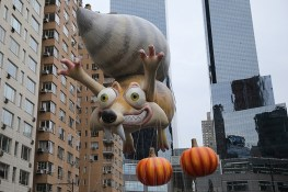 Scrat, the rambunctious star of the Ice Age franchise, heads across Central Park South in the 90th Macy's Thanksgiving Day Parade in New York, Thursday, Nov. 24, 2016. (Gordon Donovan/Yahoo News)
