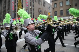 The Greendale High School Marching Band performs outside Radio City Music Hall in the 90th Macy's Thanksgiving Day Parade in New York, Thursday, Nov. 24, 2016. (Gordon Donovan/Yahoo News)