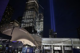 The Tribute in Light rises above the New York skyline near the National September 11 Memorial & Museum on Sept. 10, 2016. (Gordon Donovan/Yahoo News)