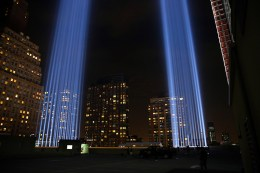 The Tribute in Light art installation consists of 88 searchlights that create two vertical columns of light on Sept. 10, 2016. (Gordon Donovan/Yahoo News)