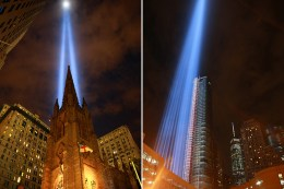 The Tribute in Light rises above the Trinity Church on Broadway, Sept. 10, 2016. (Gordon Donovan/Yahoo News)