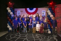 The children of Yahoo staff members and their guests pose for a photo at the Yahoo News Studios on Tuesday, Nov. 8, 2016. (Gordon Donovan/Yahoo News)