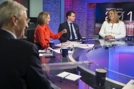 Behind the scenes photo from Katie Couric hosting a panel at the Yahoo News Studios on election night on Tuesday, Nov. 8, 2016. (Gordon Donovan/Yahoo News)