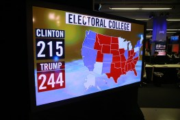 Display showing electoral college map at the Yahoo News Studios on election night, Tuesday, Nov. 8, 2016. (Gordon Donovan/Yahoo News)