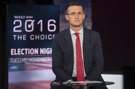 Behind the scenes photo of Jon Ward at the Yahoo News Studios on election night on Tuesday, Nov. 8, 2016. (Gordon Donovan/Yahoo News)
