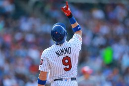 New York Mets Brandon Nimmo (9) gives thanks after singling in the second inning of a baseball game against the Miami Marlins at Citi Field in New York, Monday, July 4, 2016. (Gordon Donovan)