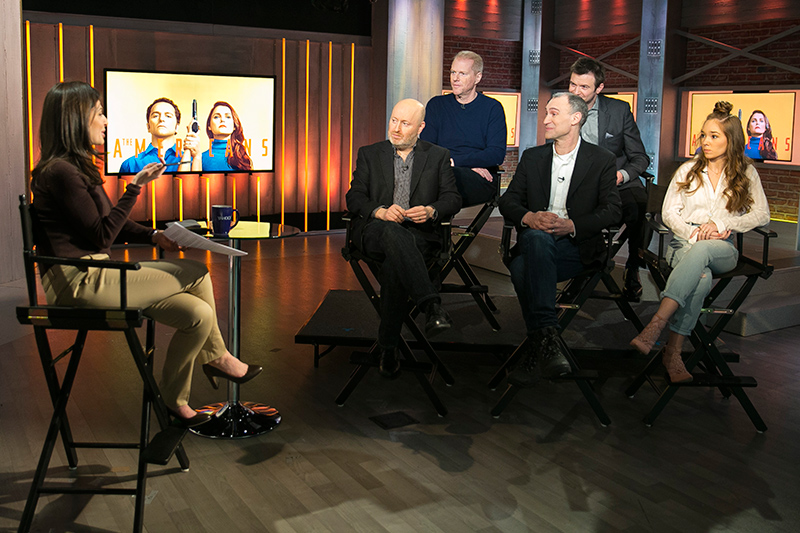 "Yahoo News & Finance Anchor Bianna Golodryga speaks with cast members and writers from the Fox TV series ""The Americans"" at the Yahoo Studios in New York City on March 16, 2017. Bottom row, left to right: Joseph Weisberg, Joel Fields and Holly Taylor; top row, left to right: Noah Emmerich and Costa Ronin. (Gordon Donovan/Yahoo News)"
