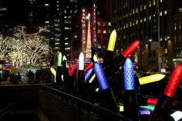 Giant Christmas lights sit along the sidewalk down the street from Radio City Music Hall. (Gordon Donovan/Yahoo News)
