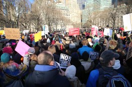 People gather for a rally in New York's Battery Park in New York, Jan. 29, 2017, protesting President Donald Trump's immigration order. (Gordon Donovan/Yahoo News)