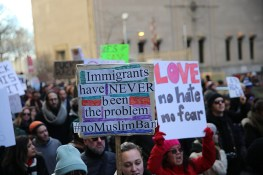 Protesters and immigrants' rights' advocates march in opposition to President Donald Trump's immigration order in New York City, Jan. 29, 2017. (Gordon Donovan/Yahoo News)