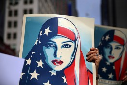 "A women holds up a Munira Ahmed sign in the ""I am a Muslim too"" rally at Times Square in New York City on Feb. 19, 2017. (Gordon Donovan/Yahoo News)"