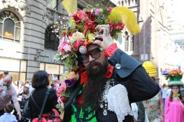 A participant displays his costume during the 2017 New York City Easter Parade on April 16, 2017. (Photo: Gordon Donovan/Yahoo News)