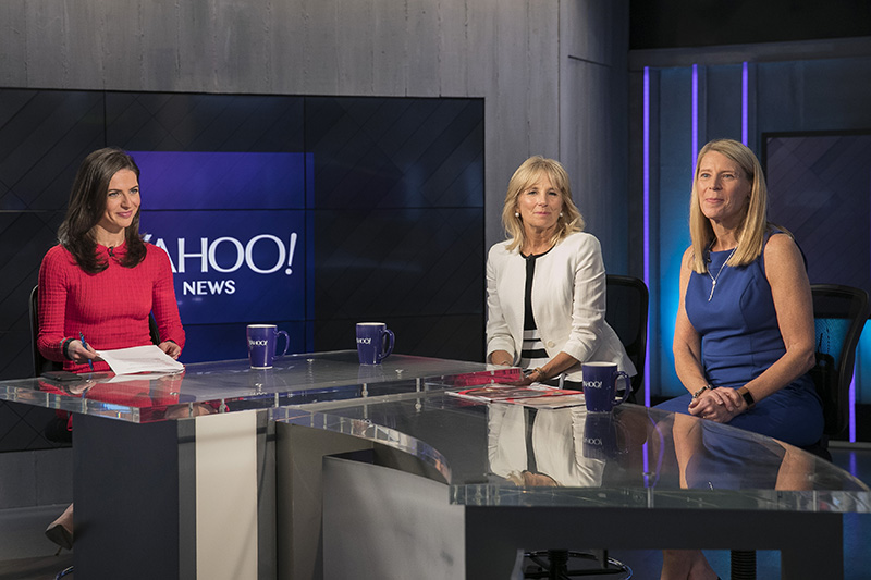 Yahoo Global Correspondent Bianna Golodryga poses for a photo with Dr. Jill Biden, former second lady of the United States, and Carolyn Miles, president and CEO of Save the Children, at the Yahoo Studios in New York City on June 1, 2017. (Photo: Gordon Donovan/Yahoo News)