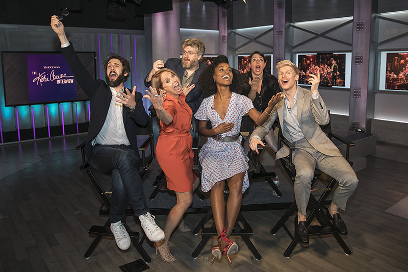 "Yahoo Global News Anchor Katie Couric strikes a pose with the cast and crew of ""Natasha, Pierre & the Great Comet of 1812"" at Yahoo Studios in New York City on June 1, 2017. Top from left, composer Dave Malloy and director Rachel Chavkin; bottom, from left, Josh Groban, Katie Couric, Denée Benton and Lucas Steele. (Gordon Donovan/Yahoo News)"
