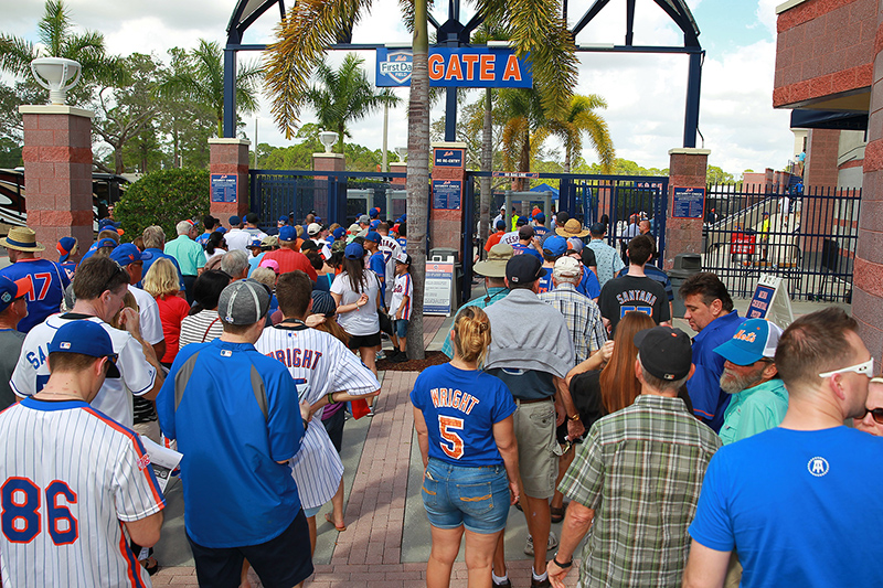 Fans gather outside waiting for the gates to open on the first Spring Training game between the Washington Nationals and New York Mets at First Data Field in Port St. Lucie, Fl., Saturday, Feb 25, 2017. (Gordon Donovan/Yahoo Sports)
