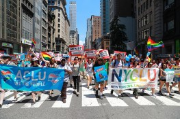 Members of the ACLU and NYCLU march in the NYC Pride Parade in New York, Sunday, June 25, 2017. (Gordon Donovan/Yahoo News)