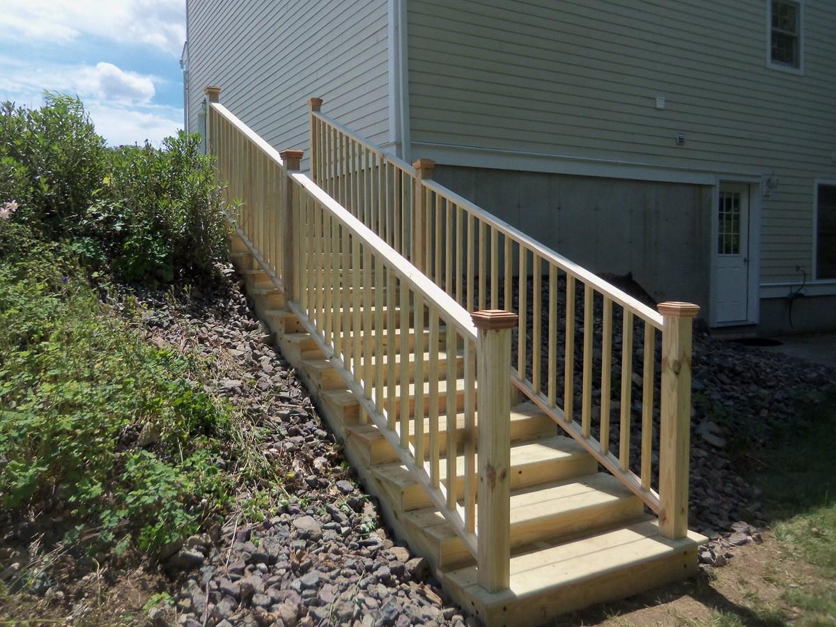 Pressure Treated Landscape Stairs – Gordon Harris   Pressure Treated Stair Handrail   Basic Deck   Deck Rail   Cedar   Guard   Concrete Step