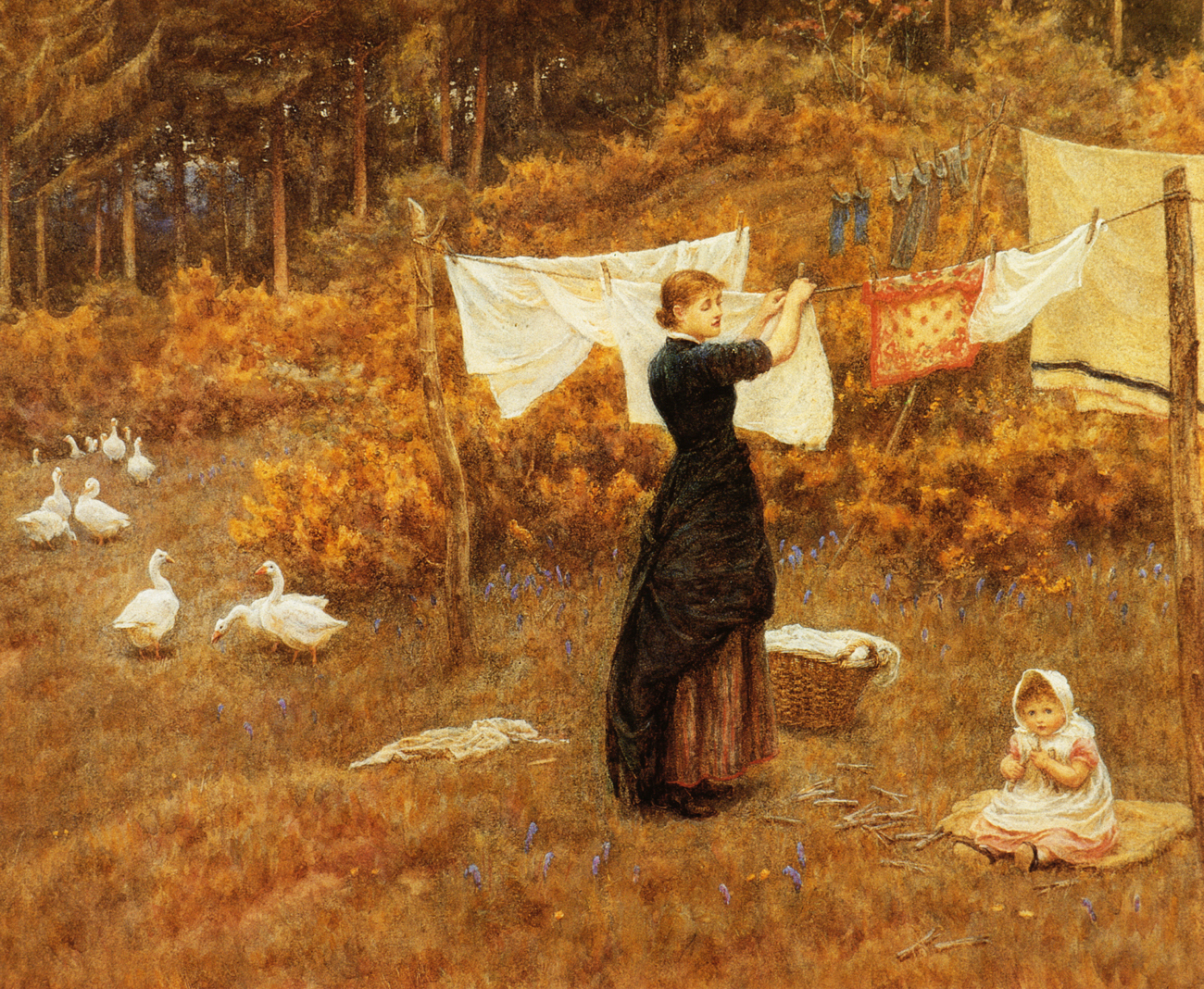 Clothes Line Helen Allingham