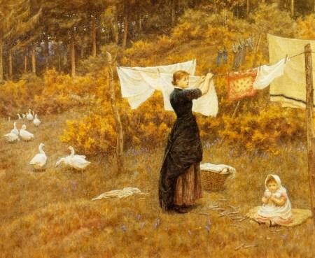 Clothes Line Helen Allingham