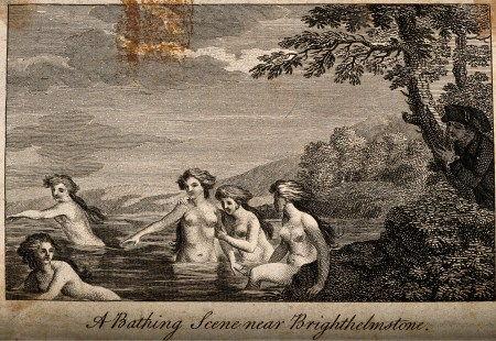 V0012257 Five women bathing while a man peeps from behind a tree. Lin