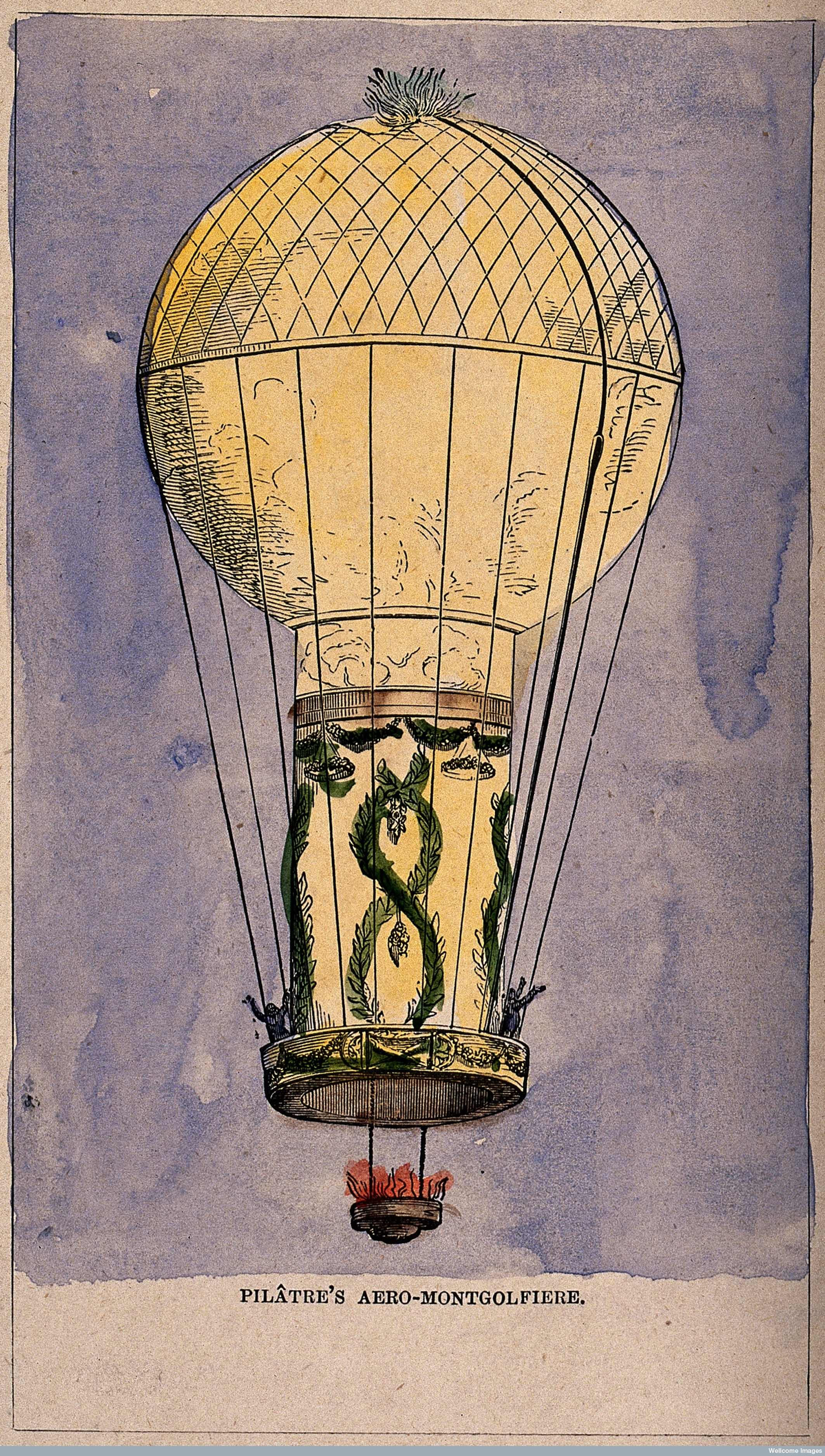 V0040874 A hot-air balloon in flight with a fire burning. Coloured en