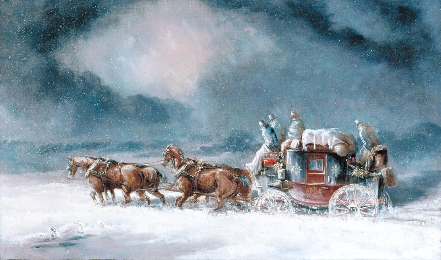 Mail Coach in a Snowstorm c.1835-40 by Charles Cooper Henderson 1803-1877