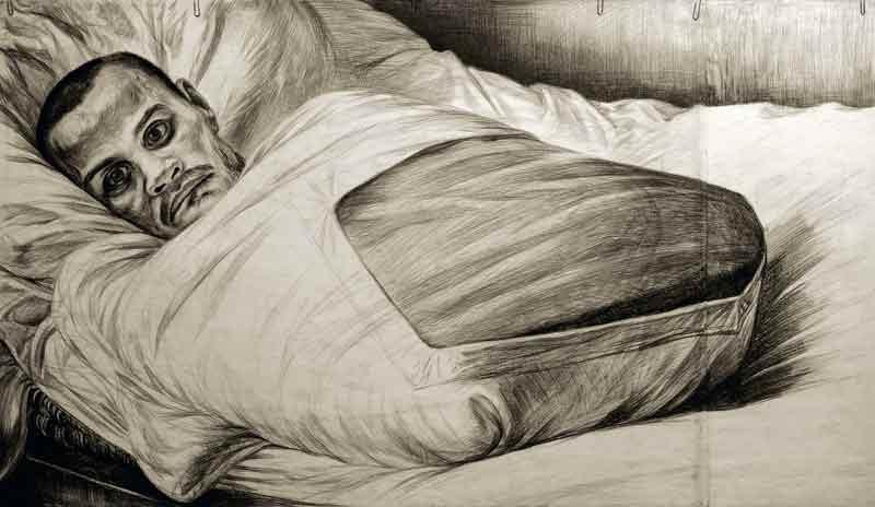 """""""Неизвестный солдат"""". Никто ничего не знает о жизни этого человека. В результате тяжелейшего ранения он потерял руки и ноги, лишился речи и слуха. Война оставила ему только возможность видеть. Психиатрическое отделение дома-интерната на острове Валаам, 1974 г. Художник Геннадий Добров. Фото: gennady-dobrov.ru"""